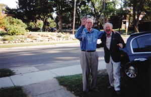 James Reaney and John Beckwith, Summer 2003, in London, Ontario. Photo by Colleen Reaney.
