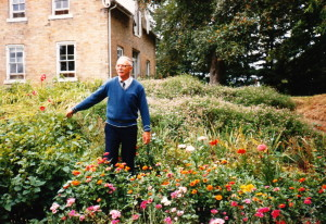 James Reaney in the garden at the farm, July 1985 (Photo by Wilma McCaig).