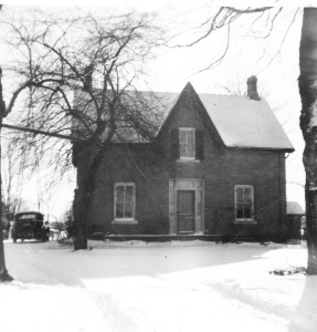 Front entrance to James Reaney's birthplace and childhood home near Stratford, Ontario, February 1954. Photo by Elizabeth Cooke (née Crearar).