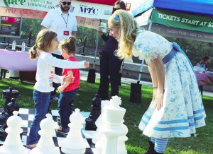 Sunday September 26, 2015 in Winnipeg: Special guests play chess with Alice (Gwendolyn Collins) down at The Forks (Culture Days 2015).