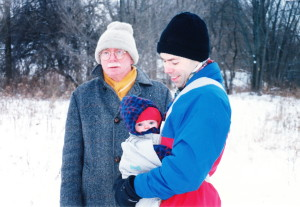 James Reaney and Ian Chunn (son-in-law) with granddaughter Edie Reaney Chunn, December 25, 1996 in London, Ontario.