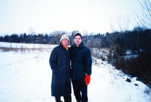 James Reaney on a winter walk with his son James Stewart Reaney, December 25, 1996.