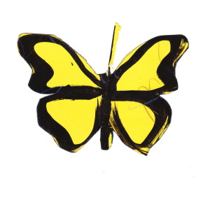 Butterfly decoration by James Reaney, September 1947 (ink on yellow paper)