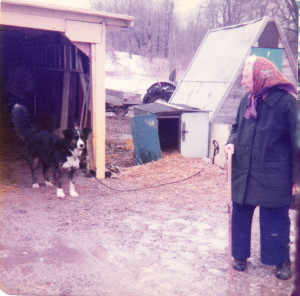 Elizabeth Cooke (James Reaney's mother) with Bob dog at Elderberry Cottage, March 1976. Photo by Wilma McCaig.