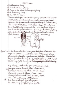 Page from James Reaney's draft of the libretto for Night Bloomiing Cereus, with notes on the central character, Mrs. Brown. (Faculty of Music Library, University of Toronto).