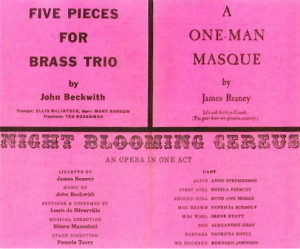 "One Man Masque first performed by James Reaney on April 5, 1960 as part of ""An Evening With James Reaney and John Beckwith"". From the program: ""A ONE-MAN MASQUE by James Reaney -- Life and death in Canada (The poet does not promise eternity.)"