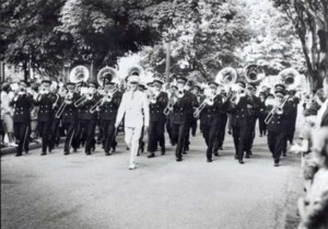 Bandmaster C.F. Thiele leading the Waterloo Musical Society Band, 1947. Photo courtesy Waterloo Public Library (images.ourontario.ca)