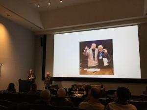 NOvember 5, 2016 -- November 5, 2016: James Stewart Reaney introduces composer John Beckwith (Photo courtesy Elizabeth Reaney).