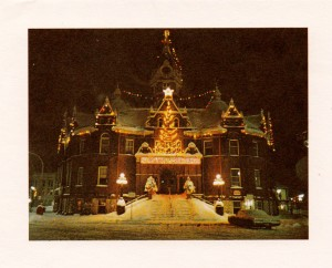 "Stratford City Hall lit up for Christmas, circa 1960. ""O City Hall, O City Hall. How lovely are your Christmases!"""