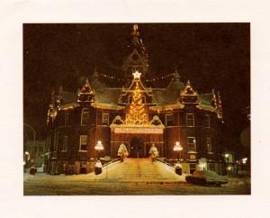 """Stratford City Hall lit up for Christmas, circa 1960. """"O City Hall, O City Hall. How lovely are your Christmases!"""""""