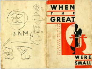 """James Reaney's copy of """"When the Great Were Small: Childhood Stories of the Great Artists and Musicians as Told By Kellogg's Singing Lady"""", 1935 booklet for The Singing Lady radio programme, copyright Kellogg Company. Image courtesy Western University Archives, James Reaney fonds AFC 18."""
