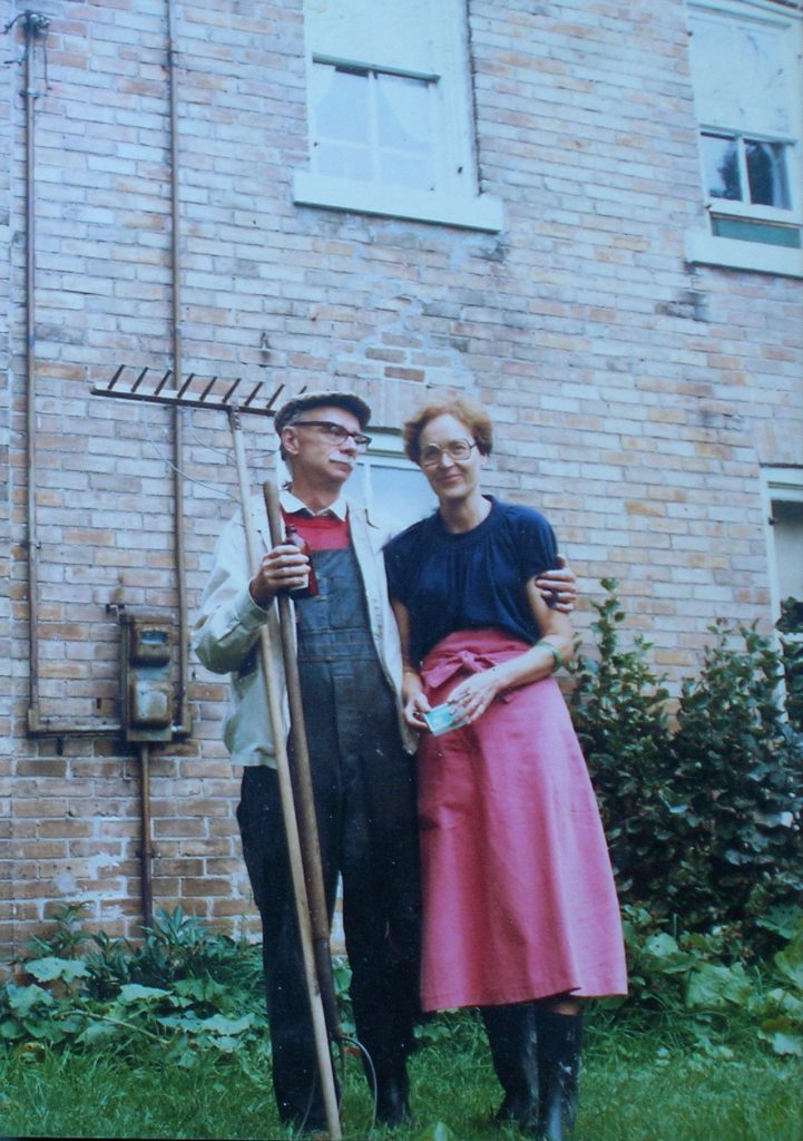 James Reaney and Colleen Thibaudeau at the farmhouse near Stratford in 1982.